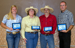 Baker Montana Index Champions: (l-r) Megan Arnold (Women's Thumbing), Sarah Pantano (Women's Traditional), Michael Pantano (Men's Traditional), Howard Darby (Men's Thumbing)